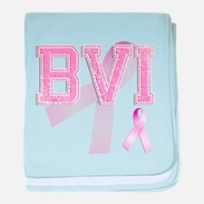 BVI initials, Pink Ribbon, baby blanket