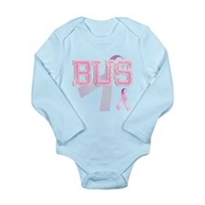 BUS initials, Pink Ribbon, Long Sleeve Infant Body