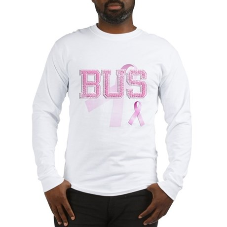 BUS initials, Pink Ribbon, Long Sleeve T-Shirt