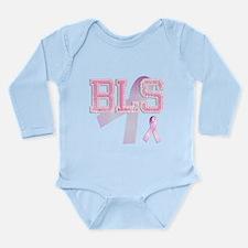 BLS initials, Pink Ribbon, Long Sleeve Infant Body