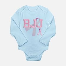 BJJ initials, Pink Ribbon, Long Sleeve Infant Body