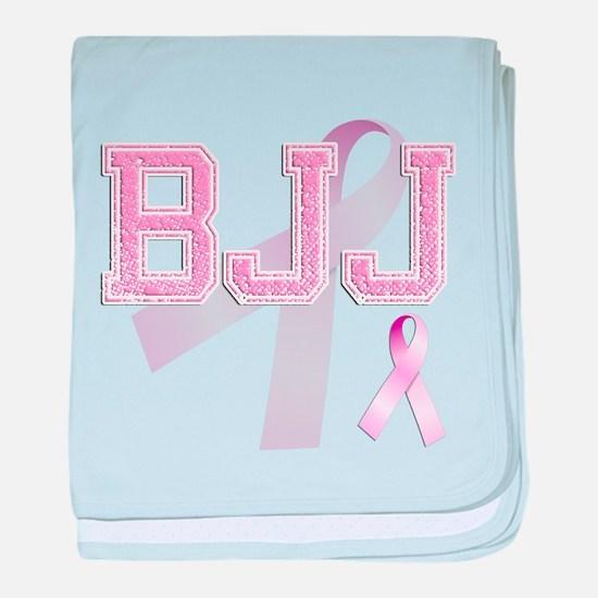 BJJ initials, Pink Ribbon, baby blanket