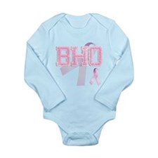 BHO initials, Pink Ribbon, Long Sleeve Infant Body