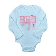 BEO initials, Pink Ribbon, Long Sleeve Infant Body