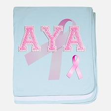 AYA initials, Pink Ribbon, baby blanket