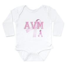AVM initials, Pink Ribbon, Long Sleeve Infant Body