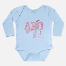 APO initials, Pink Ribbon, Long Sleeve Infant Body