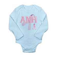 ANH initials, Pink Ribbon, Long Sleeve Infant Body