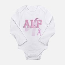 ALF initials, Pink Ribbon, Long Sleeve Infant Body