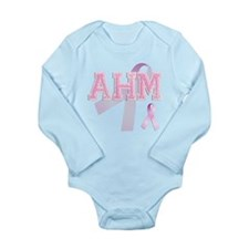 AHM initials, Pink Ribbon, Long Sleeve Infant Body