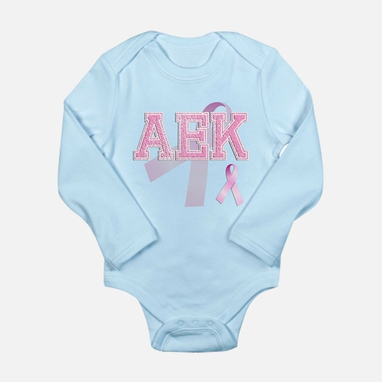 AEK initials, Pink Ribbon, Long Sleeve Infant Body