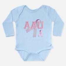 AAU initials, Pink Ribbon, Long Sleeve Infant Body