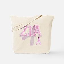 ZIA initials, Pink Ribbon, Tote Bag