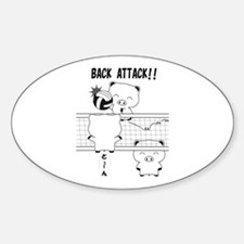 Volleyball back attack Sticker (Oval)