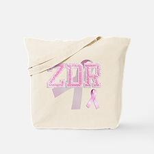 ZDR initials, Pink Ribbon, Tote Bag