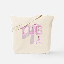 YUG initials, Pink Ribbon, Tote Bag