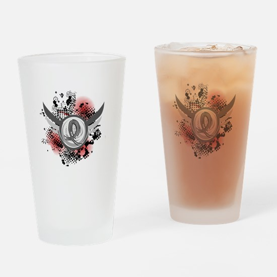 Wings and Ribbon Brain Cancer Drinking Glass