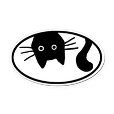 Upside-Down Cat Oval Car Magnet