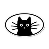 Black cat Oval Car Magnets