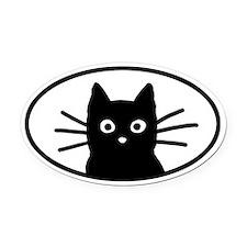 Black Cat Face Oval Car Magnet