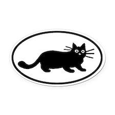 Black Cat Oval Car Magnet