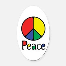 Emphatic Peace Colours Oval Car Magnet