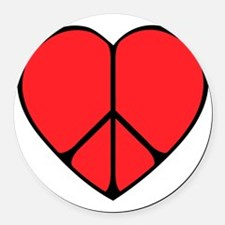 new peace heart copy.png Round Car Magnet