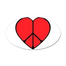 new peace heart copy.png Oval Car Magnet