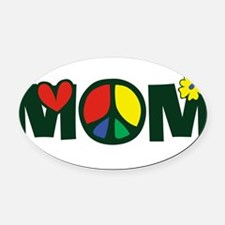 PeaceMOM.png Oval Car Magnet