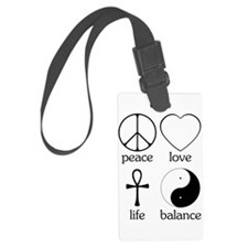 Peace Love Life Balance square II.png Luggage Tag