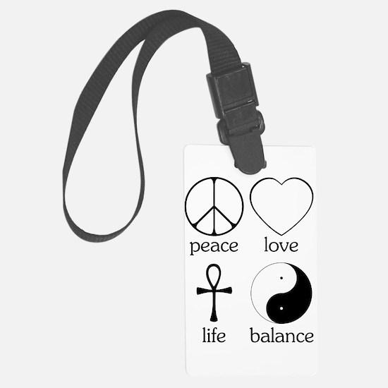 Peace Love Life Balance square II.png Luggage Tag