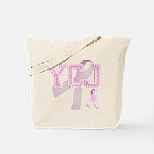 YCJ initials, Pink Ribbon, Tote Bag
