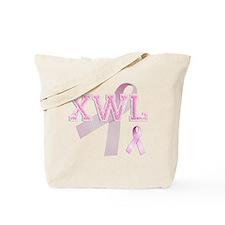 XWL initials, Pink Ribbon, Tote Bag