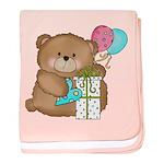 Boo Boo Birthday Bear 1 baby blanket