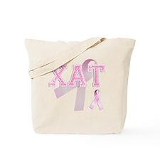 XAT initials, Pink Ribbon, Tote Bag