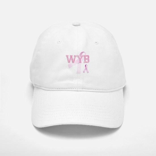 WYB initials, Pink Ribbon, Baseball Baseball Cap