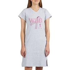 WUG initials, Pink Ribbon, Women's Nightshirt