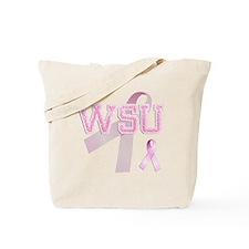 WSU initials, Pink Ribbon, Tote Bag