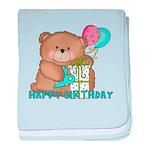 Boo Boo Bear Birthday 1 baby blanket
