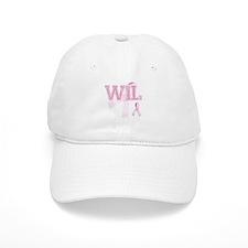 WIL initials, Pink Ribbon, Baseball Cap