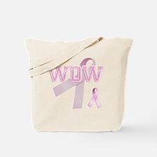 WDW initials, Pink Ribbon, Tote Bag