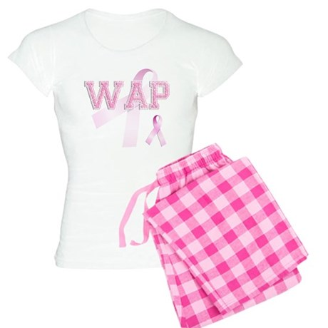 WAP initials, Pink Ribbon, Women's Light Pajamas