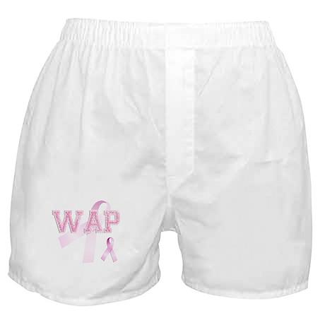 WAP initials, Pink Ribbon, Boxer Shorts