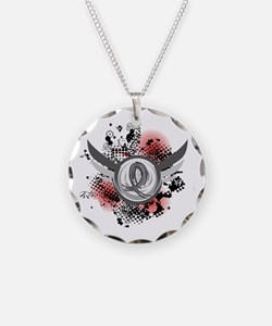 Wings and Ribbon Parkinson's Necklace Circle Charm