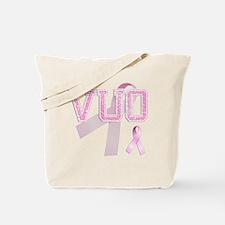 VUO initials, Pink Ribbon, Tote Bag
