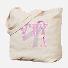 VTY initials, Pink Ribbon, Tote Bag