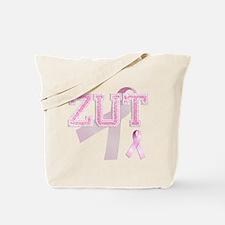 ZUT initials, Pink Ribbon, Tote Bag
