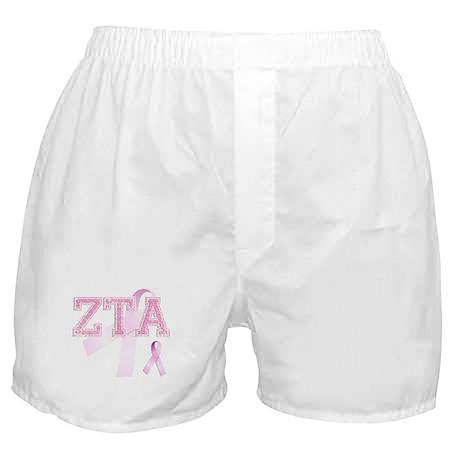 ZTA initials, Pink Ribbon, Boxer Shorts