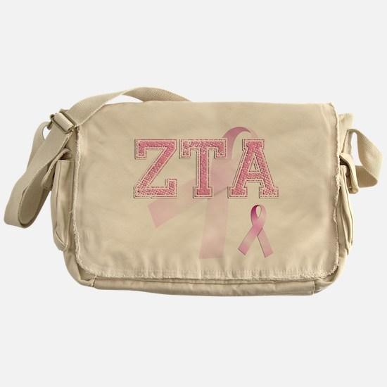 ZTA initials, Pink Ribbon, Messenger Bag