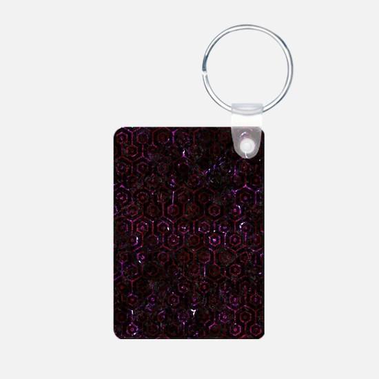 HEXAGON1 BLACK MARBLE & BU Aluminum Photo Keychain